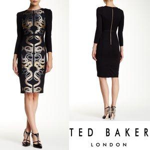 NWT Ted Baker Malicia Snake Jacquard Panel Dress